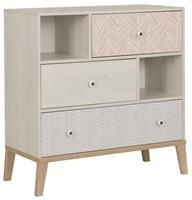 gamillofurniture Commode Alika 95 cm hoog in Wit kastanjehout