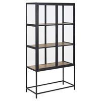 Leen Bakker Vitrine Adino - zwart/eikenkleur - 150x77x35 cm