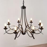 Lindby Amonja kroonluchter, 8-lamps, bruin