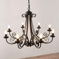 Lindby Scaleria kroonluchter, 8-lamps, bruin