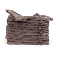 theonetowelling The One Towelling 12-PACK: Washandjes Organic - 16 x 21 cm - Taupe