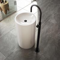 Hotbath Cobber X wastafelmengkraan vloermontage mat zwart CX078WBL