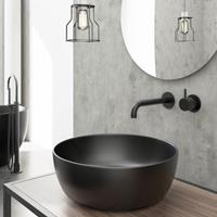Hotbath Cobber X afbouwdeel voor wastafelmengkraan met 18cm uitloop mat zwart CX005EXT18BL