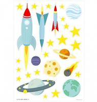 littlelovely Little Lovely muurstickers Space junior 50 cm geel/blauw vinyl