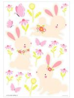 littlelovely Little Lovely muurstickers Konijn junior 50 cm groen/roze vinyl