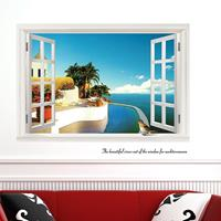 3D Fake Windows Seascape Creative Fashion muurstickers, afmeting: 60cm x 90cm