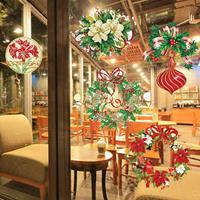 Kerst Series Glitter Stickers voor huisdecoratie, grootte: 30,5 cm x 30,5 cm