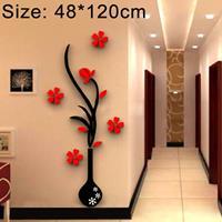 Creatieve Vaas 3D Acryl Stereo Muurstickers TV Achtergrond Muur Gang Woondecoratie, Afmeting: 48x120x4cm