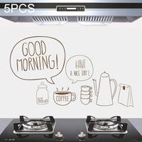5 STKS Zoet Koffie Patroon Huishoudelijke Keuken Zelfklevende Hittebestendige Oliebestendige Muurstickers Maat: 60x90cm
