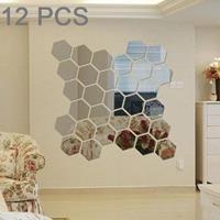 12 STKS 3D zeshoekige spiegel muurstickers set, maat: 10 * 10cm (zilver)