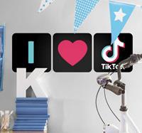 tenstickers ''Ik hou van tik tok'' thuis muur zelfklevende sticker