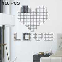 100 stuks vierkante kristal mozaïek spiegel acryl stereo muurstickers creatieve achtergrond thuis woonkamer muursticker, grootte: 2 * 2cm (zilver)