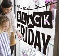 tenstickers Raamstickers black friday aan een slinger