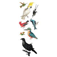 Art for the Home muursticker Vogels 2x - multikleur - 25x75 cm