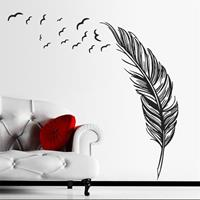 PVC Feather Creative Home Bedroom Sofa Achtergrond Muursticker (Rechts)