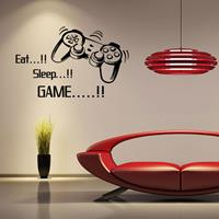 dennisdeal Creative Art Game Handvat Muurstickers EAT SLEEP GAME Zwarte Vinyl Verwijderbare Gedrukte Muursticker