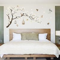 dennisdeal White Blossom Tree Branch Muursticker Cherry Blossom Decals Muurschildering Decor