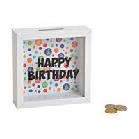 Houten witte spaarpot Happy Birthday met glas 15 cm - Spaarpotten