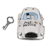 Eigen merk Spaarpot trouwauto Just Married 16x8,5cm