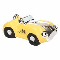 Spaarpot gele sportauto cabriolet 14 cm - Spaarpotten