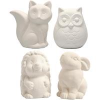 Creative dierenspaarpotten 9 10 cm wit 4 stuks