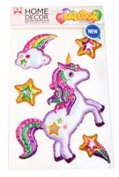 homedecor Home Decor dikke stickers Unicorn 25 x 15 cm folie wit 4-delig