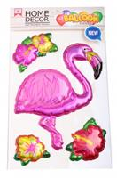 homedecor Home Decor dikke stickers Flamingo 25 x 15 cm folie roze 4-delig