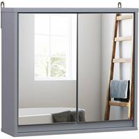 HOMCOM Badkamer spiegelkast hout grijs 48 x 14,5 x 45 cm