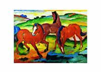 PGM Franz Marc - Die großen roten Pferde Kunstdruk 71x56cm
