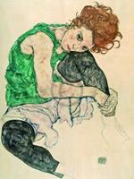 PGM Egon Schiele - Sitzende Frau mit hochgezogenen Kunstdruk 60x80cm