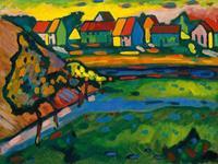 PGM Wassily Kandinsky - Bayrisches Dorf mit Feld Kunstdruk 80x60cm