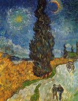 PGM Vincent Van Gogh - Landstrasse mit Zypresse und Stern Kunstdruk 70x90cm