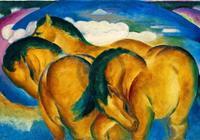 PGM Franz Marc - Die kleinen gelben Pferde Kunstdruk 100x70cm