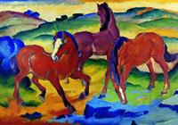 PGM Franz Marc - Die roten Pferde Kunstdruk 100x70cm