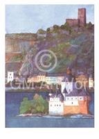 PGM Helga Westphal - Die Pfalz bei Kaub und Burg Gutenfels, Rhein Kunstdruk 50x70cm