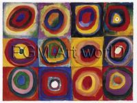 PGM Wassily Kandinsky - Farbstudie Quadrate Kunstdruk 120x90cm