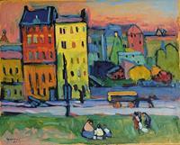 PGM Wassily Kandinsky - Houses of Munich Kunstdruk 53x43cm