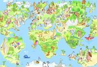 Papermoon Kids World Map Vlies Fotobehang 250x180cm