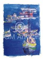PGM Ralf Westphal - Hafen von Sesimbra, Portugal Kunstdruk 70x100cm