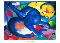 PGM Franz Marc - Zwei Katzen blau und gelb Kunstdruk 70x50cm
