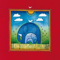 PGM Linda Edwards - Three little elephants Kunstdruk 40x40cm