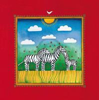 PGM Linda Edwards - Three little zebras Kunstdruk 40x40cm