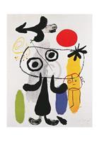PGM Joan Miro - Figur gegen rote Sonne II Kunstdruk 70x100cm