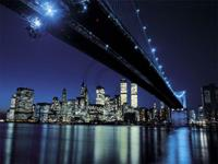 PGM Henri Silberman - Brooklyn Bridge at Night Kunstdruk 80x60cm