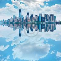 PGM Shutterstock - Lower Manhatten Skyline Kunstdruk 70x70cm