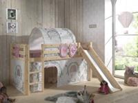 Vipack Hoogslaperset Pino combo met hoogslaper, speelgordijn 235x0x140cm - , zakjes en speeltunnel - naturel