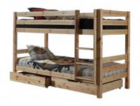Vipack Stapelbedset Pino combo met stapelbed 140cm en 2 lades - naturel