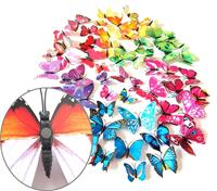 2 sets creatieve 3D-kleur vlinder muurstickers woonkamer slaapkamer decoratie benodigdheden, magneet stijl, willekeurige kleur levering