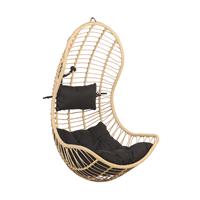 Beliani Hangstoel rotan beige/zwart PINETO