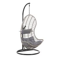 Beliani Hangstoel met standaard rotan grijs/zwart PINETO